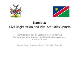 Namibia:  Civil Registration and Vital Statistics System