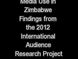 Media Use in Zimbabwe Findings from the 2012 International Audience Research Project