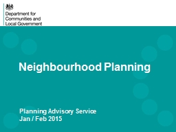Neighbourhood Planning Planning Advisory Service