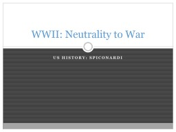 US History: Spiconardi WWII: Neutrality to War