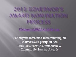 2016 governor's Award Nomination Process