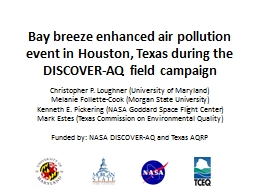 Bay breeze enhanced air pollution event in Houston, Texas during the DISCOVER-AQ field campaign