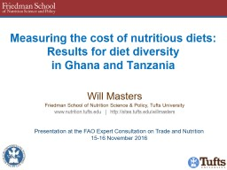 Measuring the cost of nutritious diets: