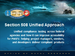 Section 508 Unified Approach PowerPoint PPT Presentation