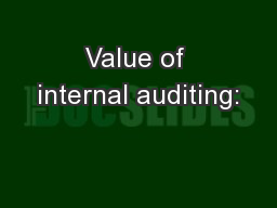 Value of internal auditing: