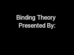 Binding Theory Presented By: