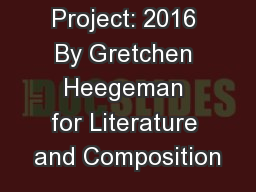 Money Project: 2016 By Gretchen Heegeman for Literature and Composition