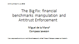 The Big Fix: financial benchmarks manipulation and Antitrust Enforcement