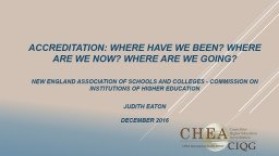ACCREDITATION: WHERE HAVE WE BEEN? WHERE ARE WE NOW? WHERE ARE WE GOING?