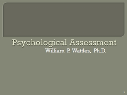 Psychological Assessment PowerPoint PPT Presentation