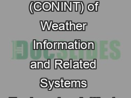 A Concept of Integration (CONINT) of Weather Information and Related Systems Engineering Artifacts