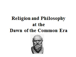 Religion and Philosophy at the