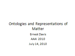 Ontologies  and Representations of Matter PowerPoint PPT Presentation