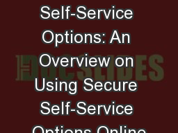 TRICARE ® Self-Service Options: An Overview on Using Secure Self-Service Options Online PowerPoint PPT Presentation