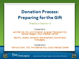 Donation Process:                         Preparing for the Gift