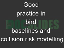 Good practice in bird baselines and collision risk modelling
