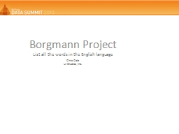 Borgmann  Project List all the words in the English language
