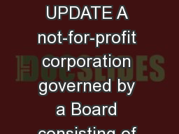 COLLEGE SENATE UPDATE A not-for-profit corporation governed by a Board consisting of students, facu