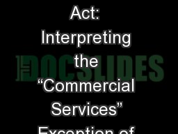 "The Wilderness Act:  Interpreting the ""Commercial Services"" Exception of Section 4(d)"