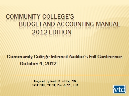 Community College�s 	Budget and Accounting manual