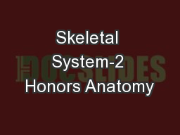 Skeletal System-2 Honors Anatomy
