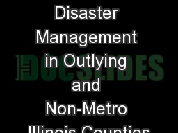 GIS as Applied to Disaster Management in Outlying and Non-Metro Illinois Counties