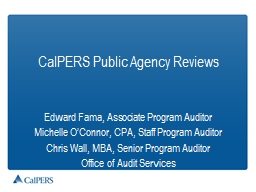 CalPERS Public Agency Reviews