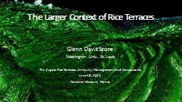 The Larger Context of Rice