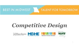 1 Competitive Design What will I take away from this presentation?