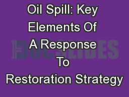 Oil Spill: Key Elements Of A Response To Restoration Strategy