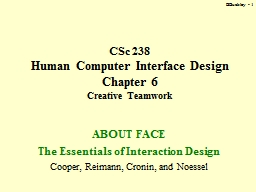 BBuckley -  1 CSc 238  Human Computer Interface Design