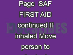 Safari  SG Insecticide Page  SAF FIRST AID continued If inhaled Move person to fresh air PowerPoint PPT Presentation