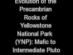Evolution of the Precambrian Rocks of Yellowstone National Park  (YNP): Mafic to Intermediate Pluto