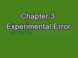 Chapter 3 Experimental Error