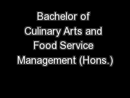 Bachelor of Culinary Arts and Food Service Management (Hons.)