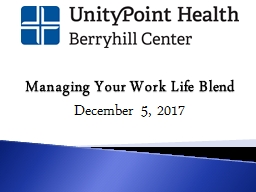 Managing Your Work Life Blend