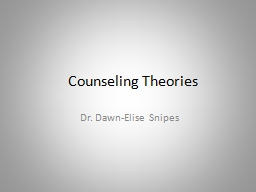 Counseling Theories Dr. Dawn-Elise Snipes PowerPoint PPT Presentation