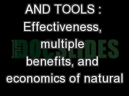 SCIENCE AND TOOLS : Effectiveness, multiple benefits, and economics of natural