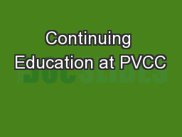 Continuing Education at PVCC