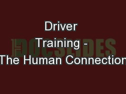 Driver Training - The Human Connection