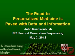 The Road to Personalized Medicine is