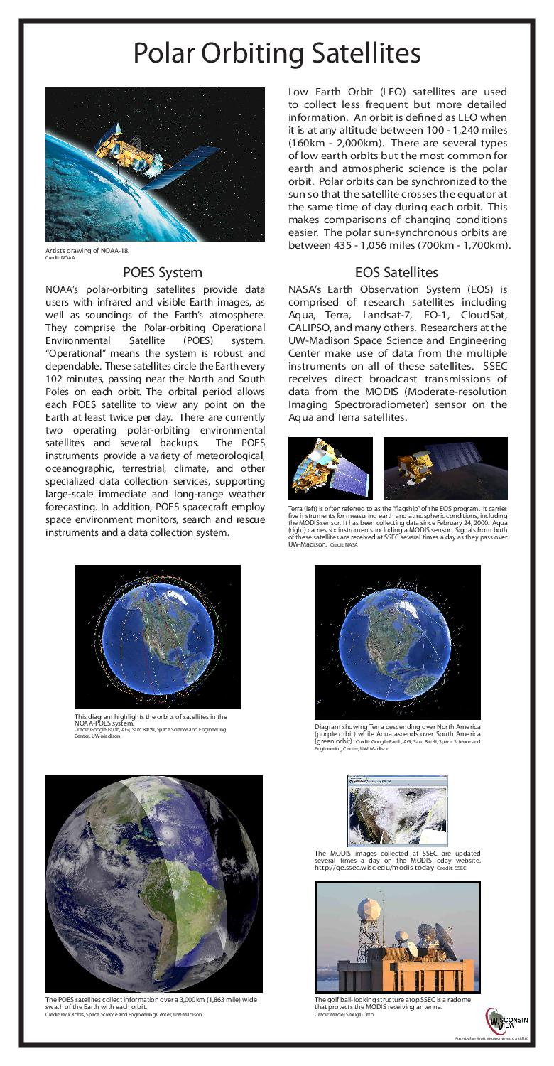 Polar Orbiting Satellites Low Earth Orbit LEO satellites are used to collect less frequent but more detailed information