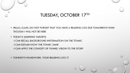 Tuesday, October 17 th