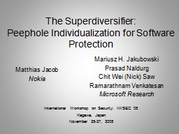 The Superdiversifier: Peephole Individualization for Software Protection