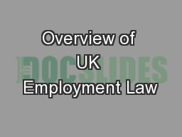 Overview of UK Employment Law