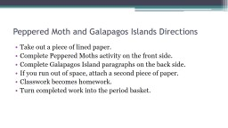 Peppered moth & The Galapagos Islands