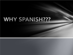 WHY SPANISH??? Spanish is the third most spoken language?