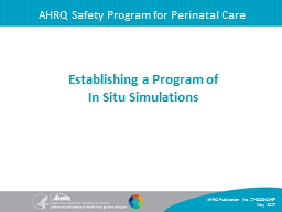 AHRQ Safety Program for Perinatal Care PowerPoint PPT Presentation
