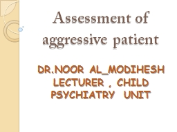 Assessment of aggressive patient