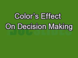 Color's Effect On Decision Making